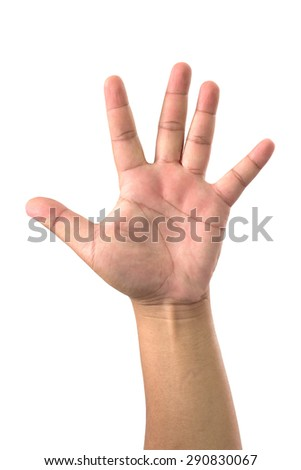 Man hand showing five finger on white background - stock photo