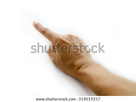 man hand showing forefinger up. Number one sign in a white isolated background - stock photo