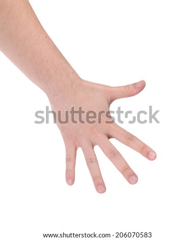 Man hand showing the five fingers. Isolated on a white background. - stock photo