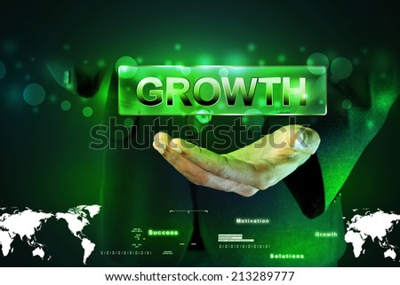 Man hand showing the word growth - stock photo