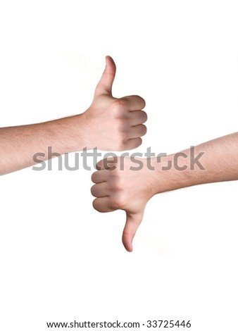 man hand showing thumbs up and down sign - stock photo