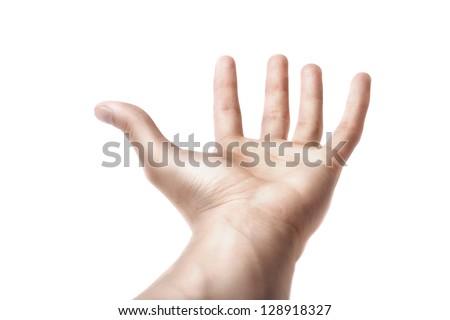 Man Hand Symbol  isolated on white background - stock photo