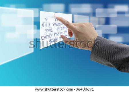 man hand touch at vacant Head of Organization Chart for CEO recruitment concept - stock photo