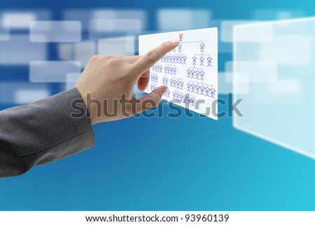 man hand touch on CEO on Organization Chart for build business concept - stock photo
