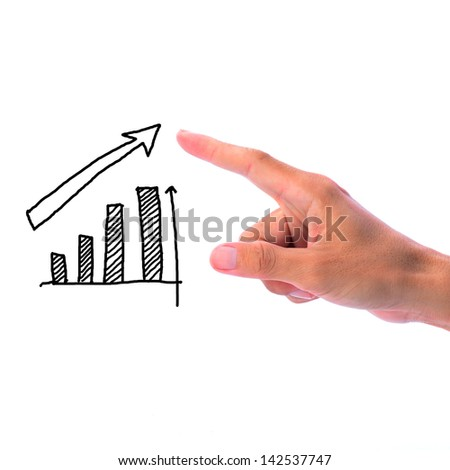 Man hand touching and pointing at hand drawing of growing business abstract - stock photo