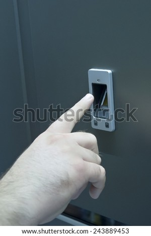 Man Hand try Security Fingerprint Door Open - stock photo