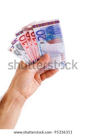 man hand whith euro bills, isolated on white - stock photo