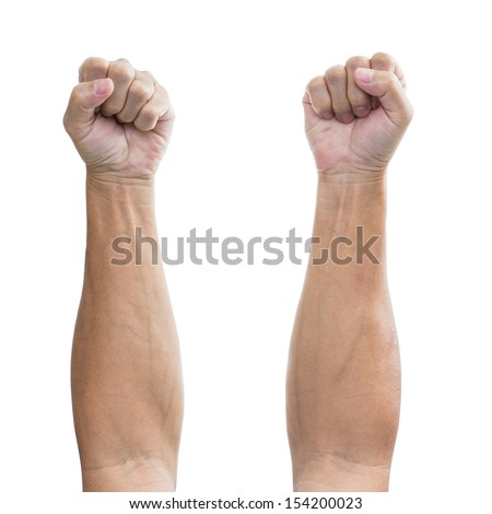 Man hand with a fist, isolated on a white background, clipping path  - stock photo