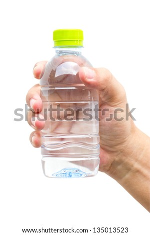 Man hand with bottle of water isolated on white. - stock photo
