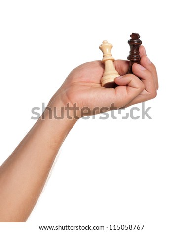 Man hand with figure chess isolated on white background - stock photo