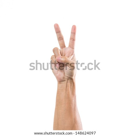 Man hand with one finger point  isolated on white background - stock photo