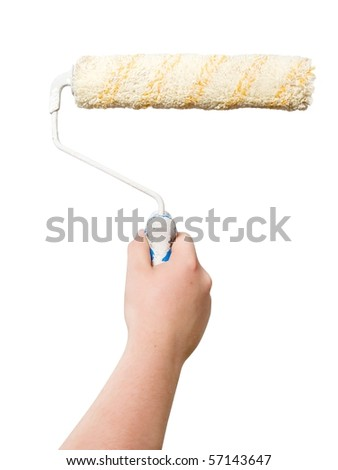 man hand with roller isolated - stock photo