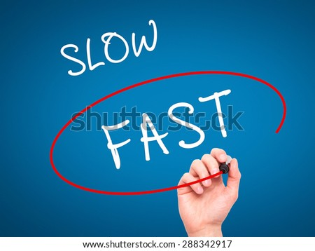 Man Hand writing and Choosing Fast instead of Slow with black marker on visual screen. Isolated on blue. Business, technology, internet concept. Stock Image - stock photo