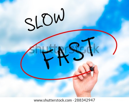 Man Hand writing and Choosing Fast instead of Slow with black marker on visual screen. Isolated on sky. Business, technology, internet concept. Stock Image - stock photo