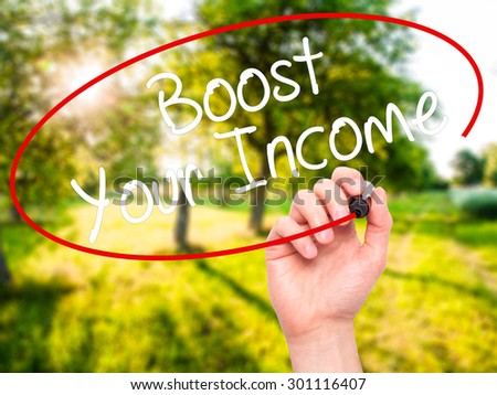 Man Hand writing Boost Your Income with black marker on visual screen. Isolated on nature. Business, technology, internet concept. Stock Photo - stock photo