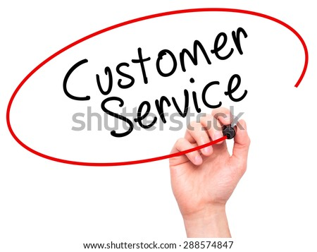 Man Hand writing Customer service with black marker on visual screen. Isolated on white. Business, technology, internet concept. Stock Image - stock photo