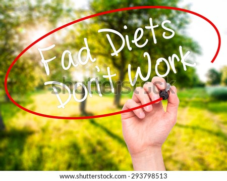 Man Hand writing Fad Diets Don't Work with black marker on visual screen. Isolated on nature. Business, technology, internet concept. Stock Photo - stock photo