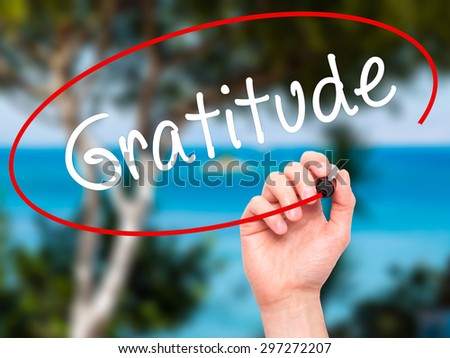 Man Hand writing Gratitude with black marker on visual screen. Isolated on nature. Business, technology, internet concept. Stock Photo - stock photo