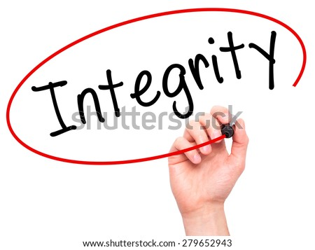 Man Hand writing Integrity black marker on visual screen. Isolated on white. Business, technology, internet concept. Stock Image - stock photo