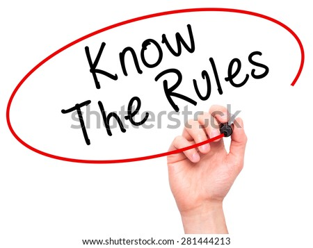 Man Hand writing Know The Rules with marker on transparent wipe board isolated on white. Business, internet, technology concept. Stock Photo - stock photo