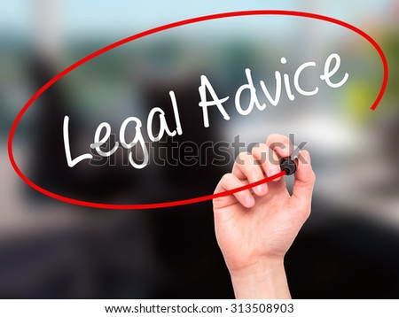 Man Hand writing Legal Advice with black marker on visual screen. Isolated on office. Business, technology, internet concept. Stock Photo - stock photo