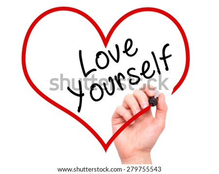 Man Hand writing Love Yourself with marker on transparent wipe board, inside heart shape. Isolated on white. Business, internet, technology concept. Stock Photo - stock photo