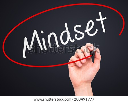 Man Hand writing Mindset with marker on transparent wipe board isolated on black. Business, internet, technology concept. Stock Photo - stock photo