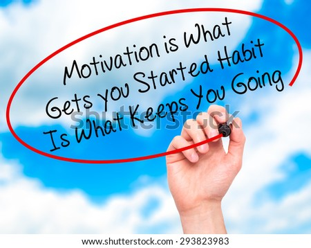 Man Hand writing Motivation is What Gets you Started Habit Is What Keeps You Going with black marker on visual screen. Isolated on sky. Business, technology, internet concept. Stock Photo - stock photo