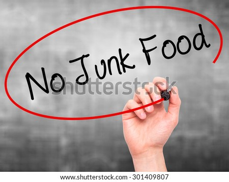 Man Hand writing No Junk Food with black marker on visual screen. Isolated on grey. Business, technology, internet concept. Stock Photo - stock photo