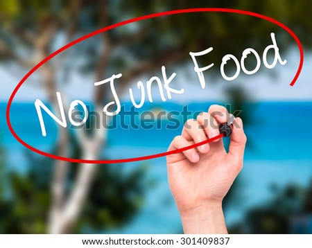 Man Hand writing No Junk Food with black marker on visual screen. Isolated on nature. Business, technology, internet concept. Stock Photo - stock photo
