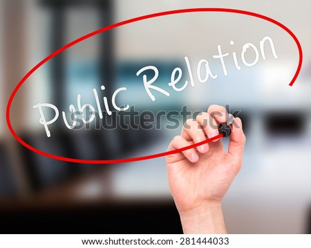 Man Hand writing Public Relations with marker on transparent wipe board isolated on office. Business, internet, technology concept. Stock Photo - stock photo