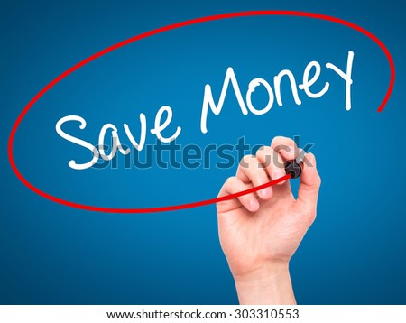 Man Hand writing Save Money with black marker on visual screen. Isolated on blue. Business, technology, internet concept. Stock Photo - stock photo