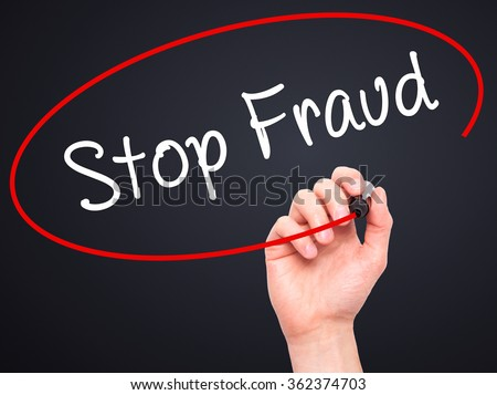 Man Hand writing Stop Fraud with black marker on visual screen ...