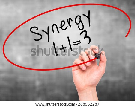 Man Hand writing Synergy concept 1+1=3 with black marker on visual screen. Isolated on grey. Business, technology, internet concept. Stock Image - stock photo