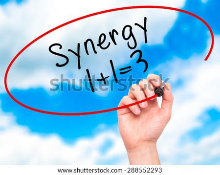 Man Hand writing Synergy concept 1+1=3 with black marker on visual screen. Isolated on sky. Business, technology, internet concept. Stock Image - stock photo