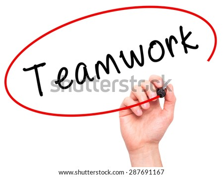 Man Hand writing Teamwork with black marker on visual screen. Isolated on white. Business, technology, internet concept. Stock Image - stock photo