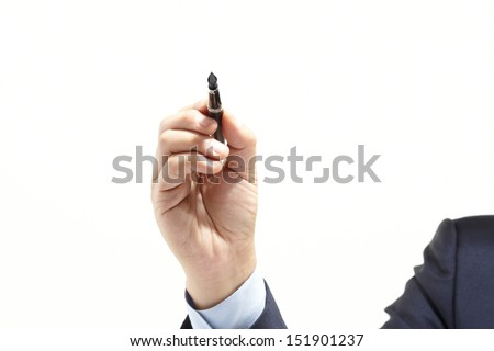 man hand writing the pen on empty space isolated on white background - stock photo