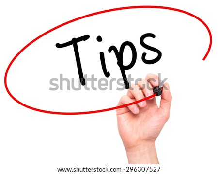 Man Hand writing Tips with black marker on visual screen. Isolated on white. Business, technology, internet concept. Stock Photo - stock photo