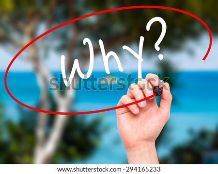 Man Hand writing Why? with black marker on visual screen. Isolated on nature. Business, technology, internet concept. Stock Photo - stock photo