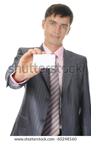 man handing a white blank. Isolated on white background - stock photo