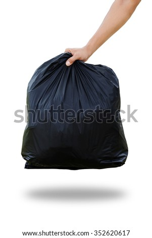 Man hands holding garbage bag isolated on white background. Clipping path. - stock photo