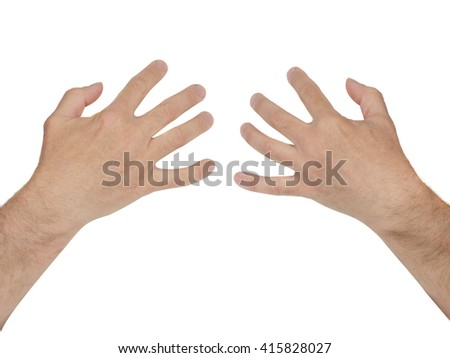 man hands holding women breasts isolated on white background. Print for women and Girls t-shirt.  - stock photo