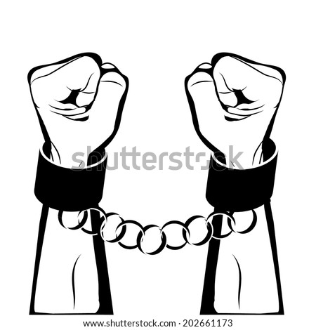 Man hands sign Hand with clenched a fist , hands in handcuffs isolated on a white background raster - stock photo