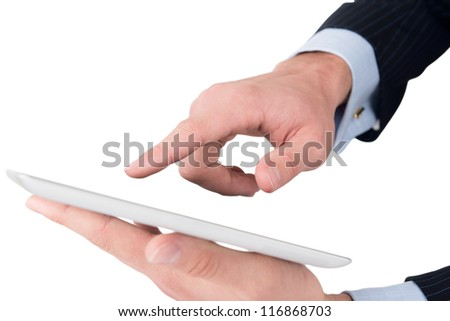 Man hands working on digital tablet - stock photo
