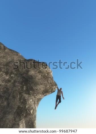 Man hanging on mountain edge - stock photo