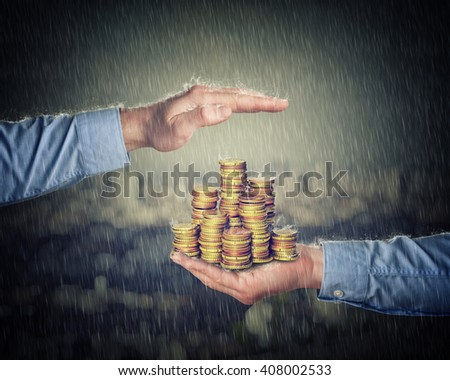 man hans hold and protect euro coin money - stock photo