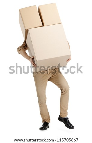 Man hardly carries the parcel, isolated, white background - stock photo