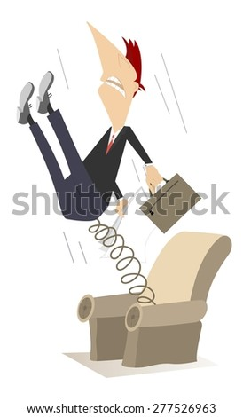Man has been pushed out from the armchair by spring - stock photo