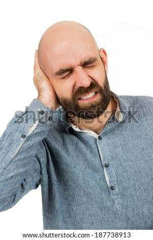 man has earache, isolated on white - stock photo