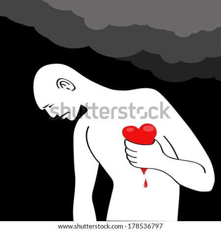 Man having a heart attack, squeezing his bleeding heart  - stock photo